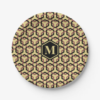 Black and Marsala Brown Linked Hexes Paper Plate 7 Inch Paper Plate