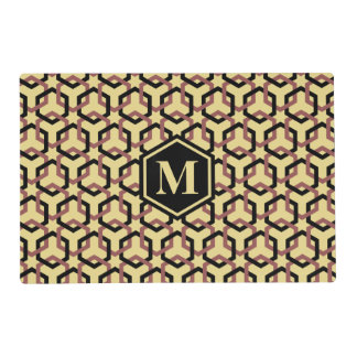 Black and Marsala Brown Linked Hexes Placemat