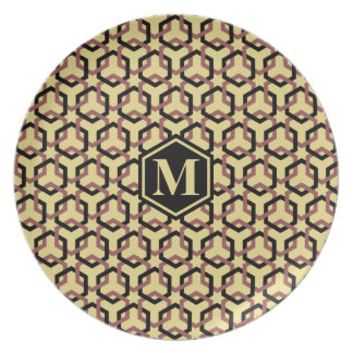 Black and Marsala Brown Linked Hexes Plate