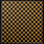 "Black and Matte Gold Checkered Cloth Napkin<br><div class=""desc"">Cloth napkin with a black and matte gold checkered pattern. This pattern is also known as checkerboard because the squares alternate color and look like a checker game board. Customizable. The perfect napkin for your table.</div>"