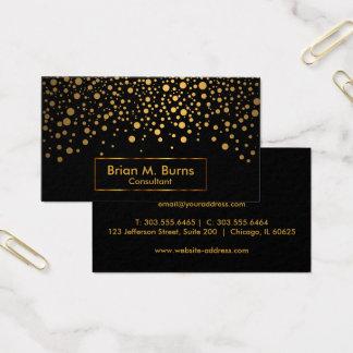 Black and Metallic Gold Confetti Design Business Card