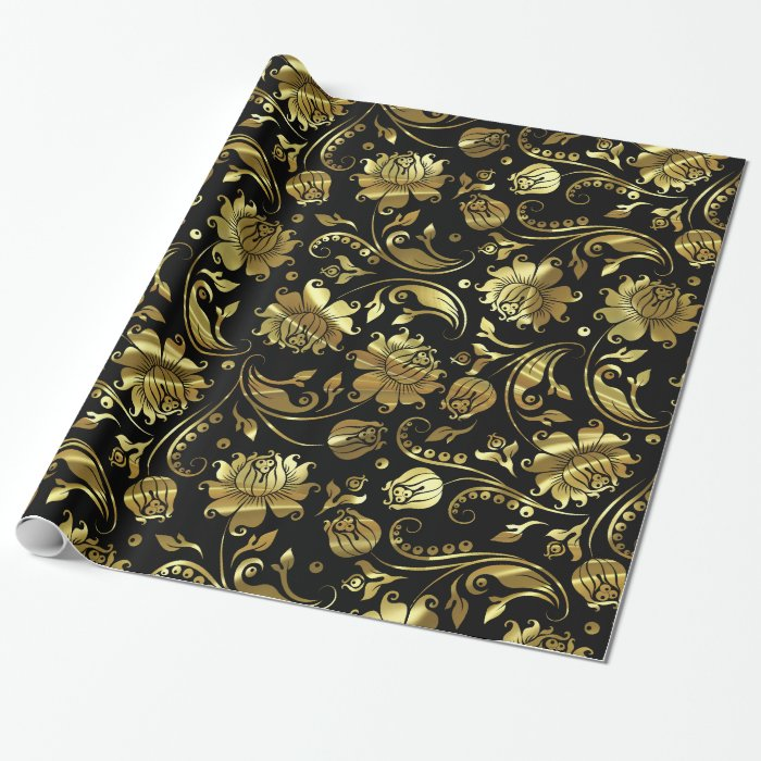 black and metallic gold floral damasks wrapping paper zazzle. Black Bedroom Furniture Sets. Home Design Ideas