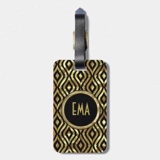 Black And Metallic Gold Geometric Pattern Luggage Tags