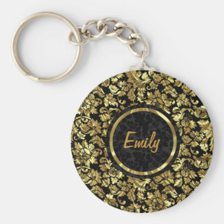 Black And Metallic Gold Vintage Damasks Keychain
