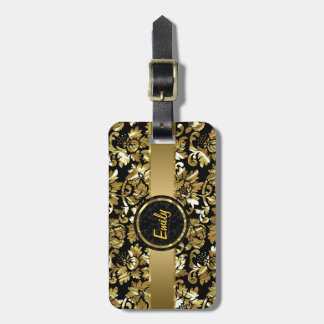 Black And Metallic Gold Vintage Damasks Tags For Bags