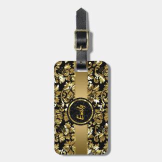 Black And Metallic Gold Vintage Damasks Luggage Tag