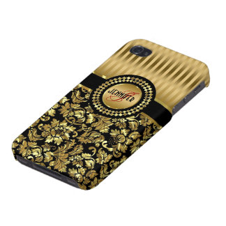 Black And Metallic Gold Vintage Floral Damasks Cover For iPhone 4