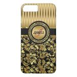 Black And Metallic Gold Vintage Floral Damasks iPhone 7 Plus Case