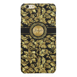 Black And Metallic Gold Vintage Floral Damasks Glossy iPhone 6 Plus Case