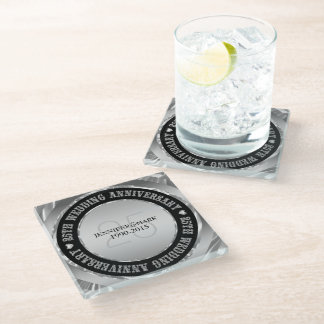 Black And Metallic Silver. 25th Anniversary 2 Glass Coaster