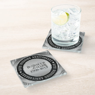Black And Metallic Silver. 25th Anniversary Glass Coaster