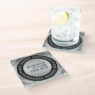 Black And Metallic Silver. 25th Anniversary Glass Coaster