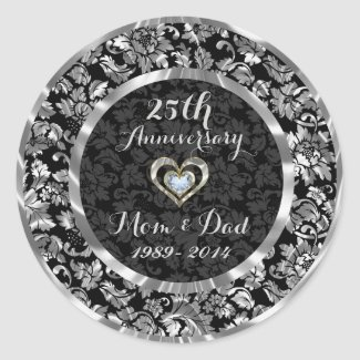 Black And Metallic Silver 25th Wedding Anniversary