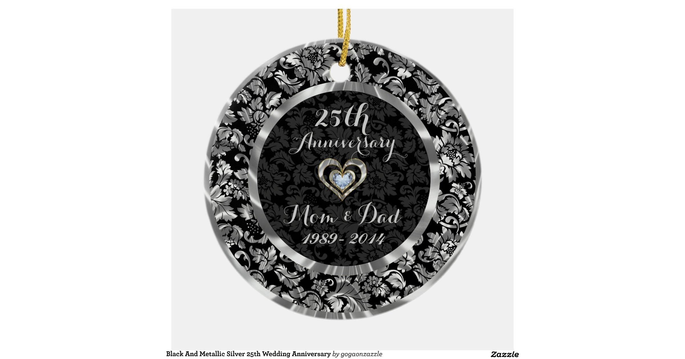 Black And Metallic Silver 25th Wedding Anniversary Ornament Rd1910fa3ce52458c