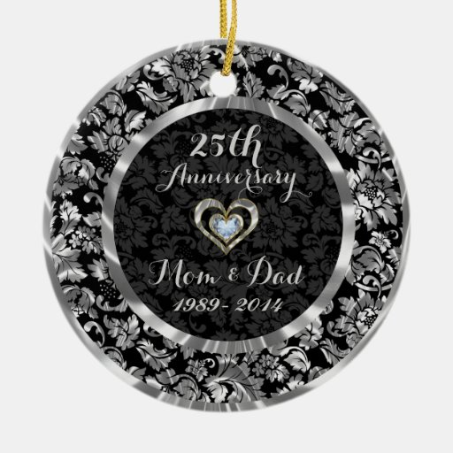 Black And Metallic Silver 25th Wedding Anniversary Double Sided Ceramic Round