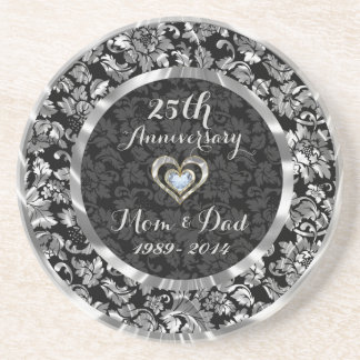 Black And Metallic Silver 25th Wedding Anniversary Sandstone Coaster