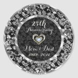 Black And Metallic Silver 25th Wedding Anniversary Classic Round Sticker
