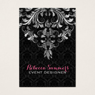 Black And Metallic Silver Floral Lace 2 Business Card