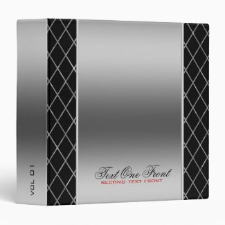 Black And Metallic Silver Geometric Design 3 Ring Binder