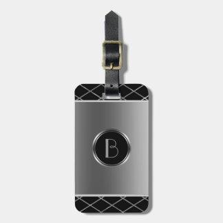 Black And Metallic Silver Geometric Design Bag Tag