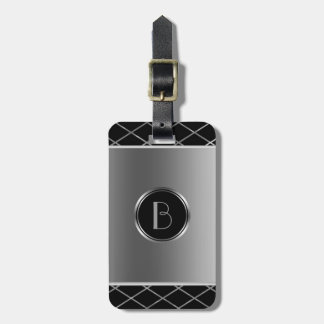 Black And Metallic Silver Geometric Design Tag For Luggage