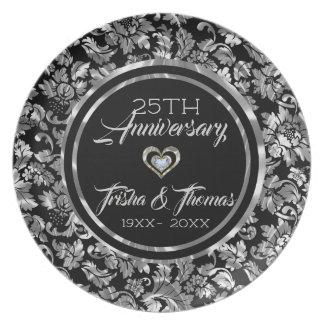 Black And Metallic Silver Vintage Floral Damasks Plate