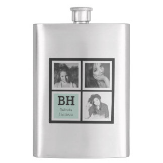 Black and Mint Custom Instagram Photos Personalize Flask