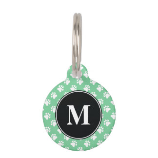 Black And Mint Green Monogram Dog Paws Pattern Pet Name Tag
