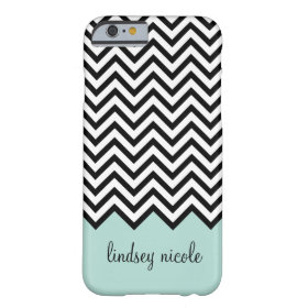 Black and Mint Modern Chevron Custom Monogram Barely There iPhone 6 Case