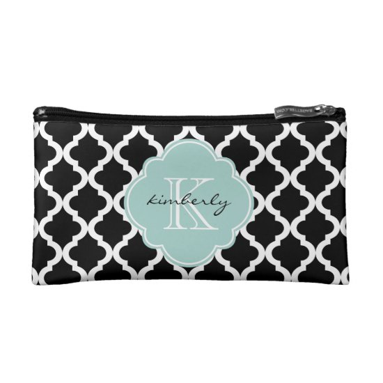 Black and Mint Moroccan Quatrefoil Monogam Makeup Bag