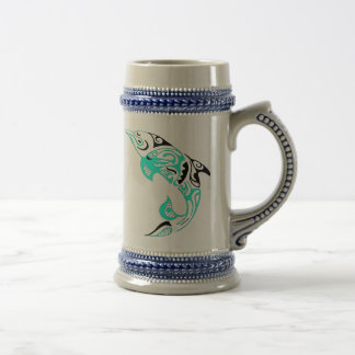 Black and Mint Tribal Dolphin Tattoo Design Beer Stein