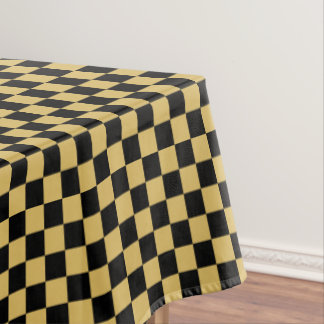 Black And Misted Yellow Checkered Tablecloth