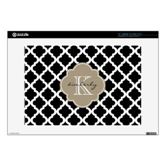 Black and Mocha Float Moroccan Quatrefoil Print Decals For Laptops