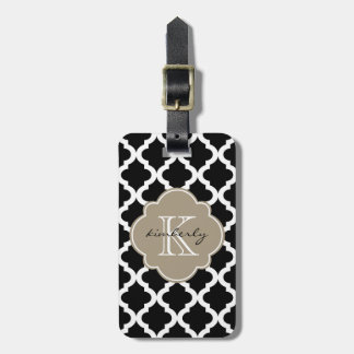 Black and Mocha Float Moroccan Quatrefoil Print Tag For Luggage