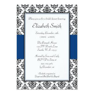 Black and Navy Blue Damask Bridal Shower 5x7 Paper Invitation Card