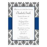 Black and Navy Blue Damask Bridal Shower Custom Announcement