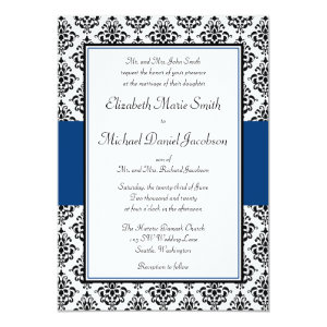 Black and Navy Blue Damask Wedding Invitation 5
