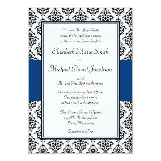 "Black and Navy Blue Damask Wedding Invitation 5"" X 7"" Invitation Card"