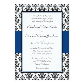 Black and Navy Blue Damask Wedding Invitation