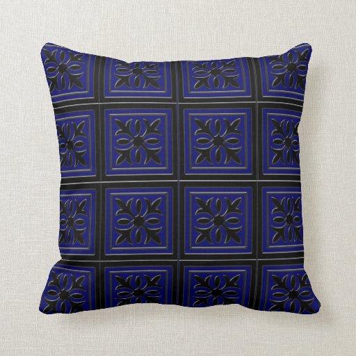 Black and Navy Blue Fancy Decorative Pillow Zazzle