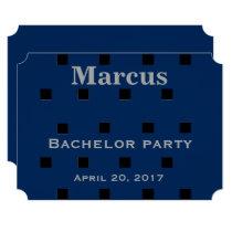 Black and navy blue square pattern invitation