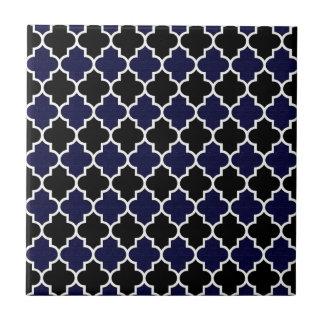 Black and Navy Blue Textured Quatrefoil Seamless Tile