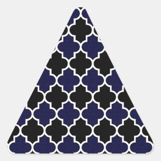 Black and Navy Blue Textured Quatrefoil Seamless Triangle Sticker
