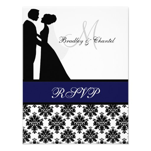 Black and Navy Blue Wedding Couple RSVP Card