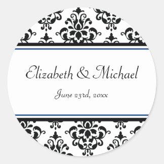 Black and Navy Damask Round Wedding Favor Label Classic Round Sticker