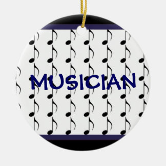 Black and Navy Musical Notes - Musician Ceramic Ornament