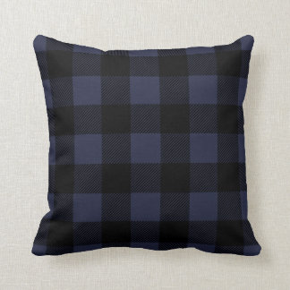 Black and Navy Preppy Buffalo Check Plaid Throw Pillow