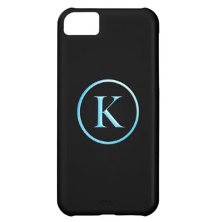 Black and Neon Blue Caslon K Monogram Cover For iPhone 5C