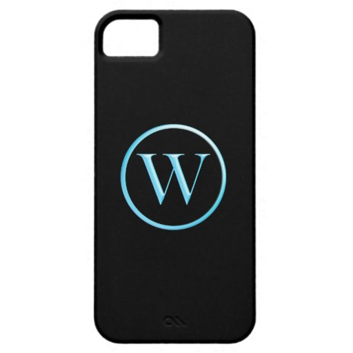 Black and Neon Blue Caslon W Monogram iPhone 5 Covers
