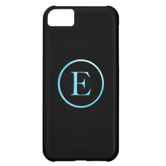 Black and Neon Blue E Monogram Case For iPhone 5C